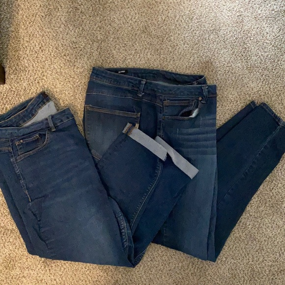 Two pairs stretchy jeans 20w